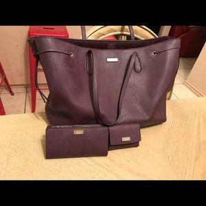 kate spade puser wallet cardholder bundle burgundy